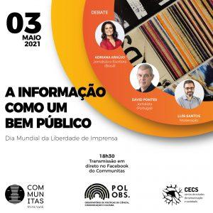 """""""A informação como um bem público"""" é o tema do debate no Dia Mundial da Liberdade de Imprensa"""